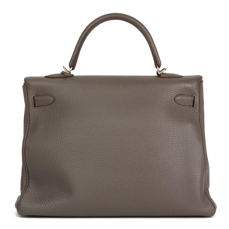 Women's 2013 Hermès Etain Togo Leather Kelly 35cm Retourne For Sale
