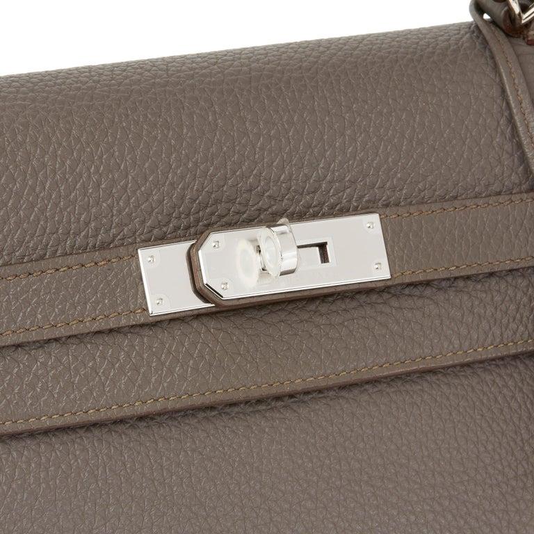 2013 Hermès Etain Togo Leather Kelly 35cm Retourne For Sale 2