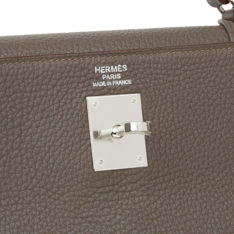 2013 Hermès Etain Togo Leather Kelly 35cm Retourne For Sale 3