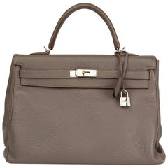 2013 Hermès Etain Togo Leather Kelly 35cm Retourne