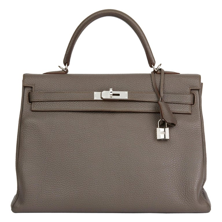 2013 Hermès Etain Togo Leather Kelly 35cm Retourne For Sale