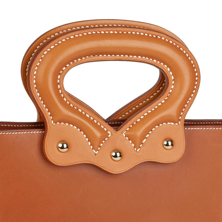 2013 Hermès Fauve & Natural Barenia Leather Cut Out Handle Tote  For Sale 2