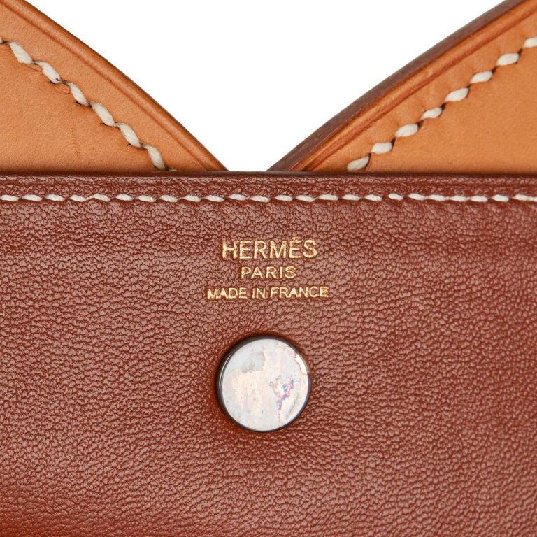 2013 Hermès Fauve & Natural Barenia Leather Cut Out Handle Tote  For Sale 4