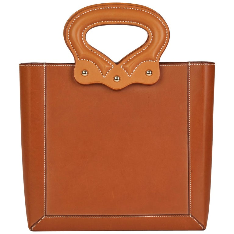 2013 Hermès Fauve & Natural Barenia Leather Cut Out Handle Tote  For Sale