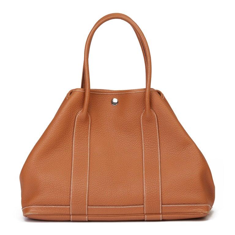 2013 Hermès Gold Negonda Leather Garden Party 36cm  For Sale 1