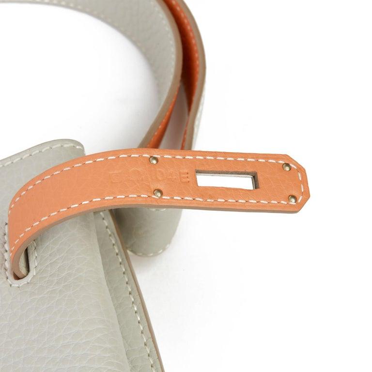 2013 Hermès Gris Perle & Crevette Clemence Leather Eclat So Kelly 22cm For Sale 6