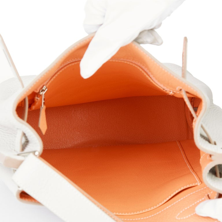 2013 Hermès Gris Perle & Crevette Clemence Leather Eclat So Kelly 22cm For Sale 7