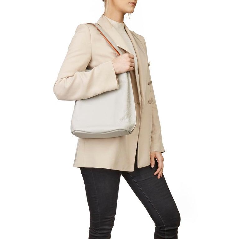 2013 Hermès Gris Perle & Crevette Clemence Leather Eclat So Kelly 22cm For Sale 9