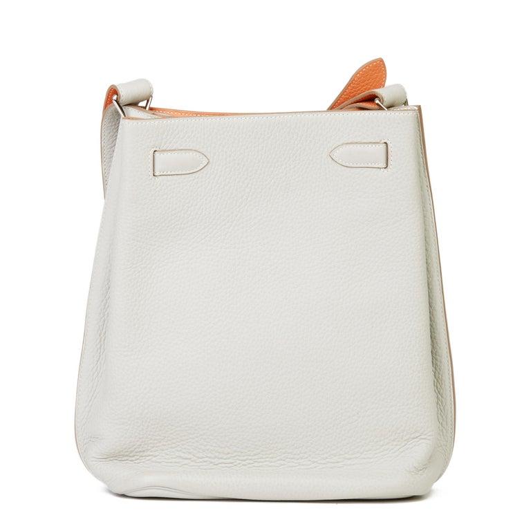 Women's 2013 Hermès Gris Perle & Crevette Clemence Leather Eclat So Kelly 22cm For Sale