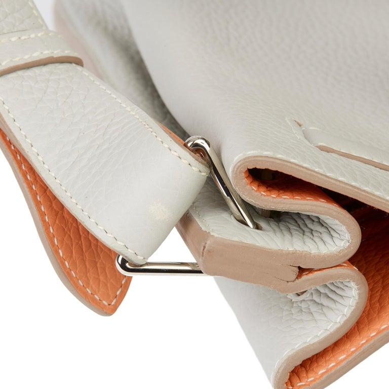 2013 Hermès Gris Perle & Crevette Clemence Leather Eclat So Kelly 22cm For Sale 4