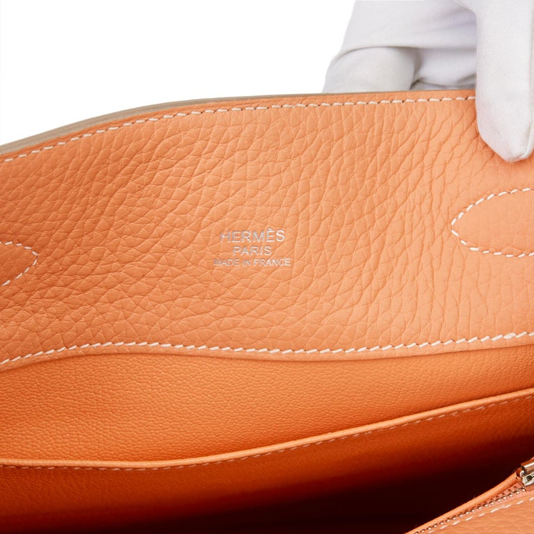2013 Hermès Gris Perle & Crevette Clemence Leather Eclat So Kelly 22cm For Sale 5