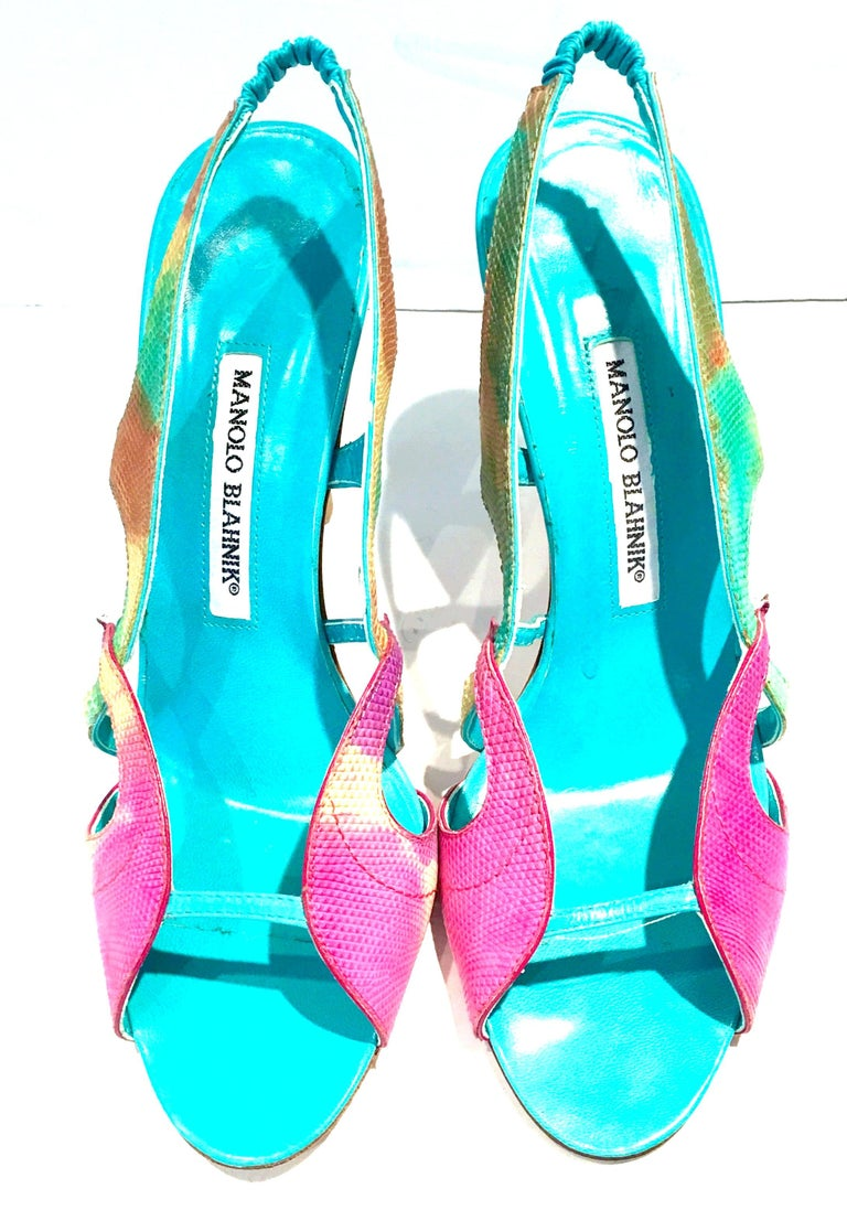 21st Century & New Manolo Blahnik 2013 Collection sling back python sandal shoes.These python dyed shoes are executed in a vibrant turquoise ground, accented with fuchsia, pistachio green, yellow, orange-multi. Pistachio green wood grain stained