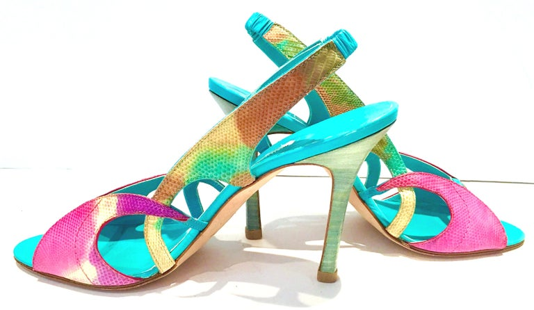 Gray 2013 New Pair Of Manolo Blahnik Multi-Color Python Sling Back Sandals For Sale