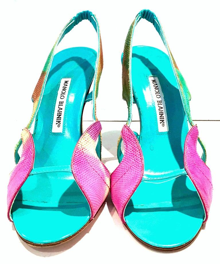 Beige 2013 New Pair Of Manolo Blahnik Multi-Color Python Sling Back Sandals For Sale
