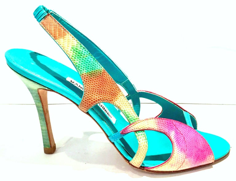 2013 New Pair Of Manolo Blahnik Multi-Color Python Sling Back Sandals In New Condition For Sale In West Palm Beach, FL