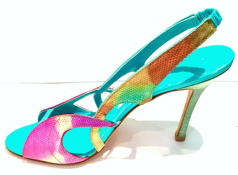2013 New Pair Of Manolo Blahnik Multi-Color Python Sling Back Sandals For Sale 1