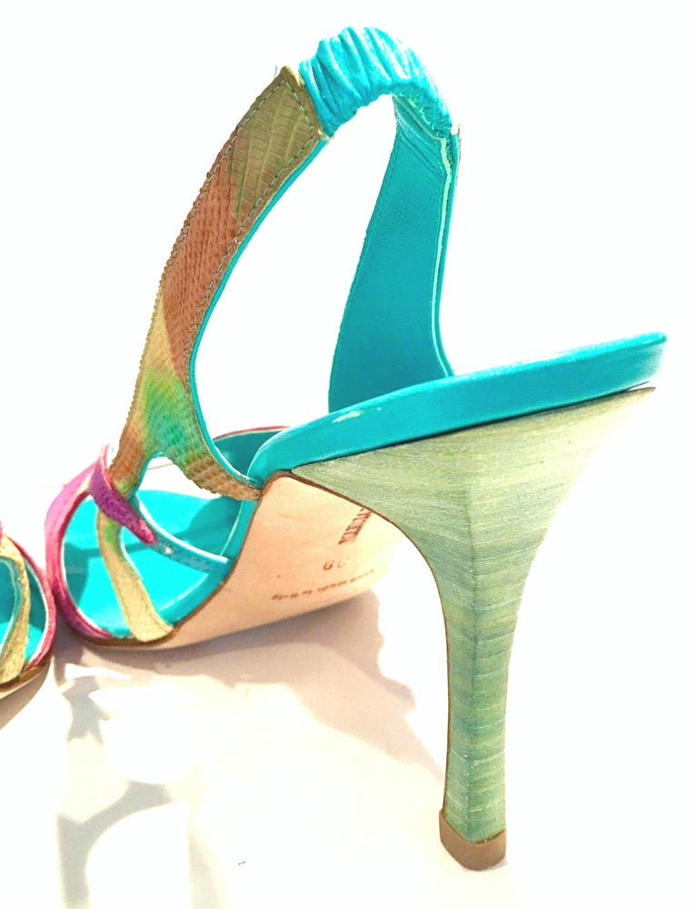 2013 New Pair Of Manolo Blahnik Multi-Color Python Sling Back Sandals For Sale 2