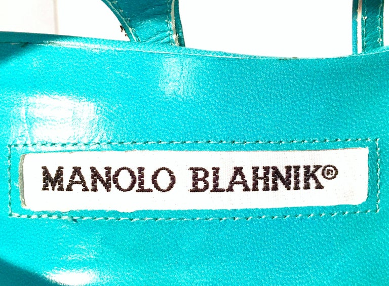 2013 New Pair Of Manolo Blahnik Multi-Color Python Sling Back Sandals For Sale 3