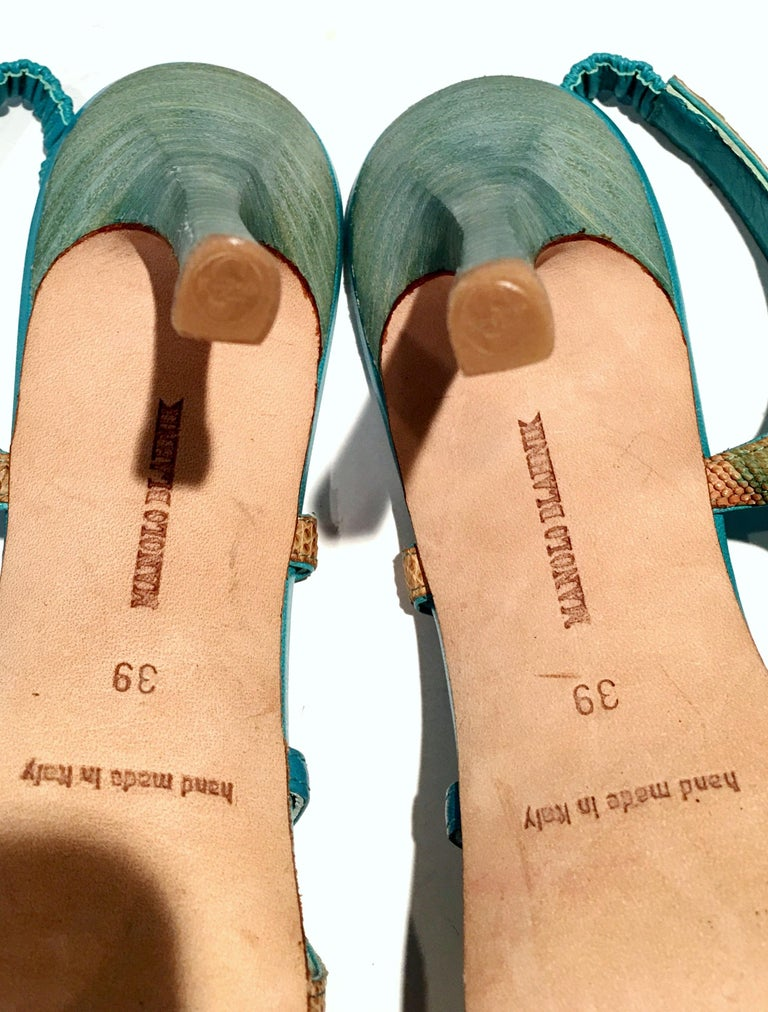 2013 New Pair Of Manolo Blahnik Multi-Color Python Sling Back Sandals For Sale 3