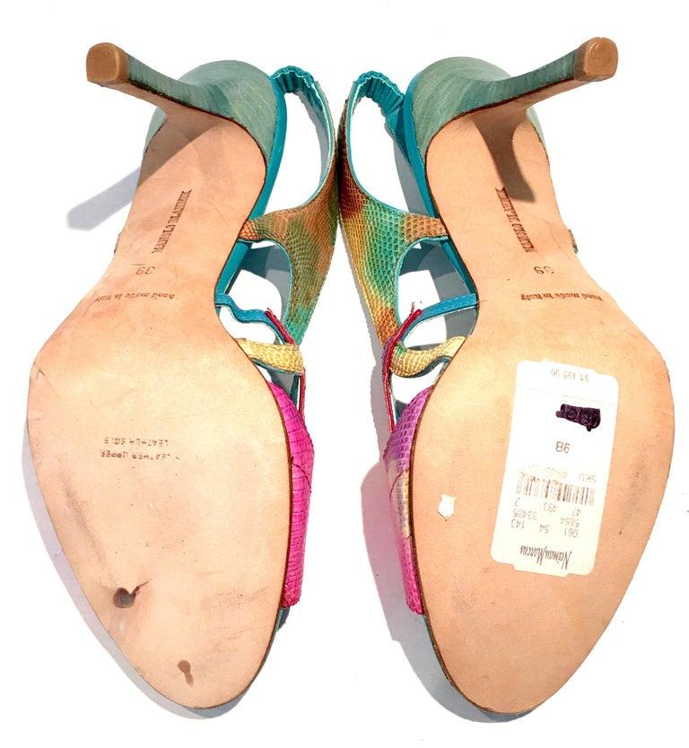 2013 New Pair Of Manolo Blahnik Multi-Color Python Sling Back Sandals For Sale 4