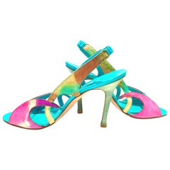 2013 New Pair Of Manolo Blahnik Multi-Color Python Sling Back Sandals