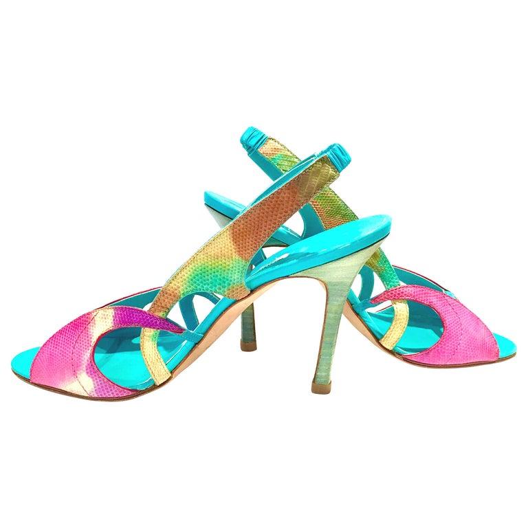 2013 New Pair Of Manolo Blahnik Multi-Color Python Sling Back Sandals For Sale