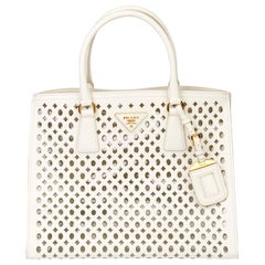 2013 Prada White Perforated Saffiano Leather & PVC Fori Tote