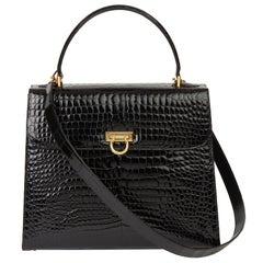 2013 William & Son Black Shiny Porosus Crocodile Leather Large Top Handle Tote