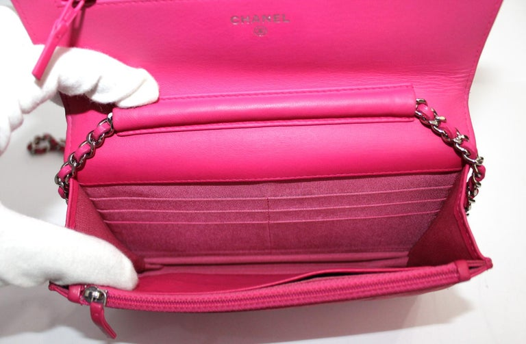 Women's  Chanel Fuchsia Leather Woc Bag For Sale