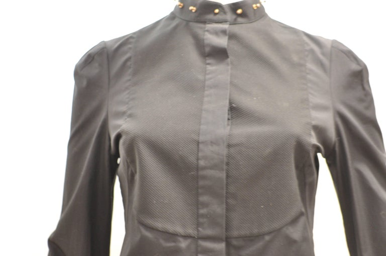 2014 Alexander McQueen Black Stud Collar Tuxedo Shirt 38 (Itl) For Sale 2