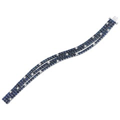 Sapphire, Diamond Art Deco Inspired White Gold Tennis Bracelet 20.14 Carat Total