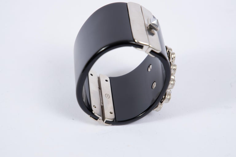 2014 Chanel Black & Hemtatite Lucite Cuff Bracelet In Excellent Condition For Sale In West Hollywood, CA