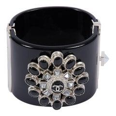 2014 Chanel Black & Hemtatite Lucite Cuff Bracelet