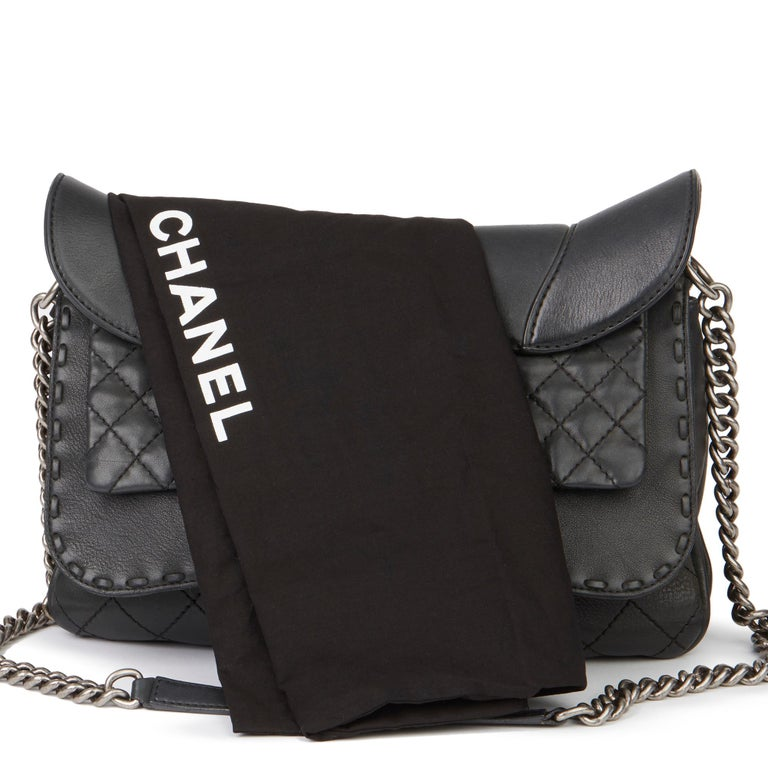 2014 Chanel Black Quilted Calfskin Leather Paris-Dallas Ride Western Saddle Bag For Sale 8