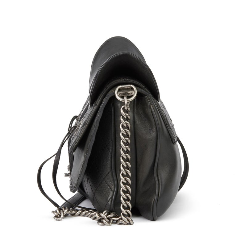 Women's 2014 Chanel Black Quilted Calfskin Leather Paris-Dallas Ride Western Saddle Bag For Sale