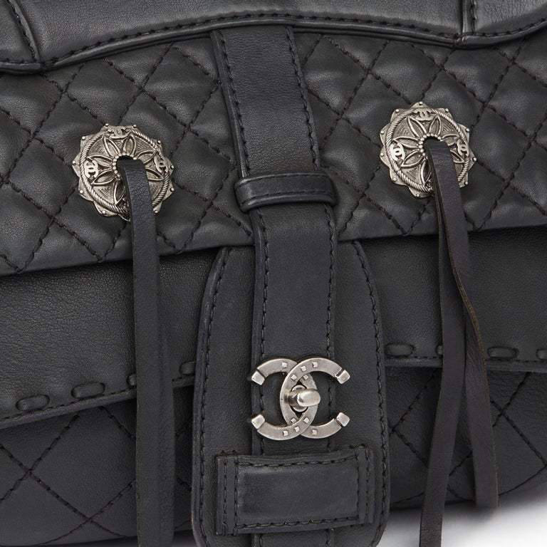 2014 Chanel Black Quilted Calfskin Leather Paris-Dallas Ride Western Saddle Bag For Sale 3