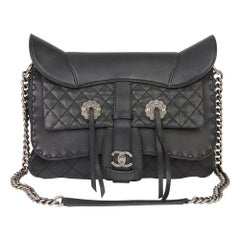 2014 Chanel Black Quilted Calfskin Leather Paris-Dallas Ride Western Saddle Bag