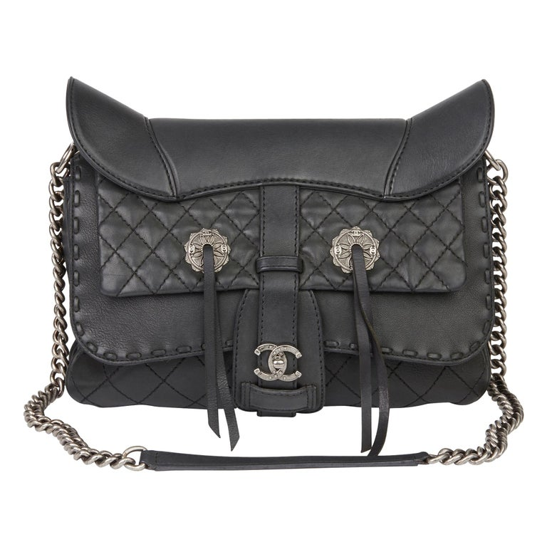 2014 Chanel Black Quilted Calfskin Leather Paris-Dallas Ride Western Saddle Bag For Sale