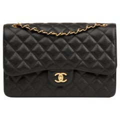 2014 Chanel Black Quilted Caviar Leather Jumbo Classic Double Flap Bag