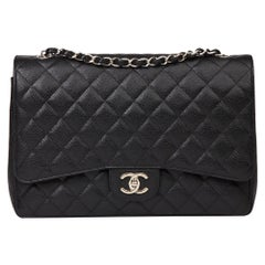 2014 Chanel Black Quilted Caviar Leather Maxi Classic Double Flap Bag