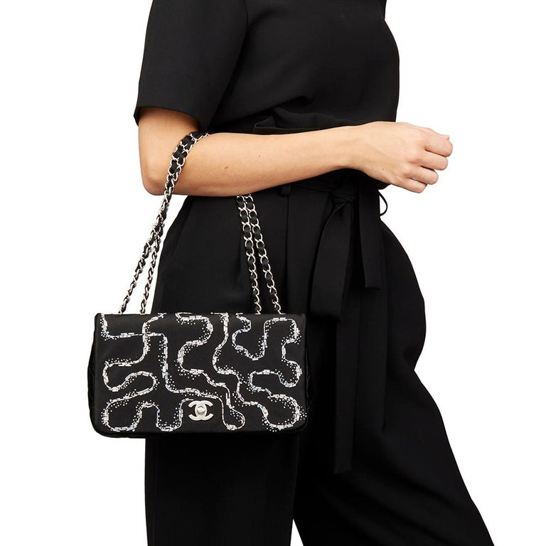 CHANEL Black Quilted & Embellished Satin LED Illuminating Medium Classic Single Full Flap Bag  Xupes Reference: HB2183 Serial Number: 20672279 Age (Circa): 2014 Accompanied By: Chanel Dust Bag, Box, Authenticity Card (2 X AA batteries required but