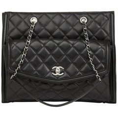 2014 Chanel Black Quilted Lambskin Classic Shoulder Tote