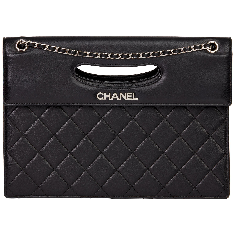 2014 Chanel Black Quilted Lambskin Timeless Foldover Shoulder Bag
