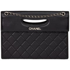 2014 Chanel Black Quilted Lambskin Timeless Foldover Shoulder Bag