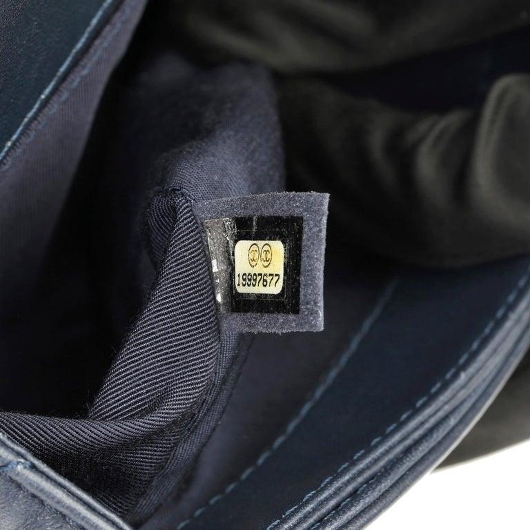2014 Chanel Blue Quilted Lambkin & Denim Multi-Tweed Enchained Medium Le Boy 5