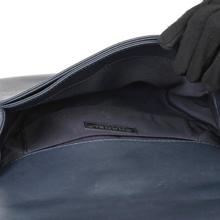 2014 Chanel Blue Quilted Lambkin & Denim Multi-Tweed Enchained Medium Le Boy 6