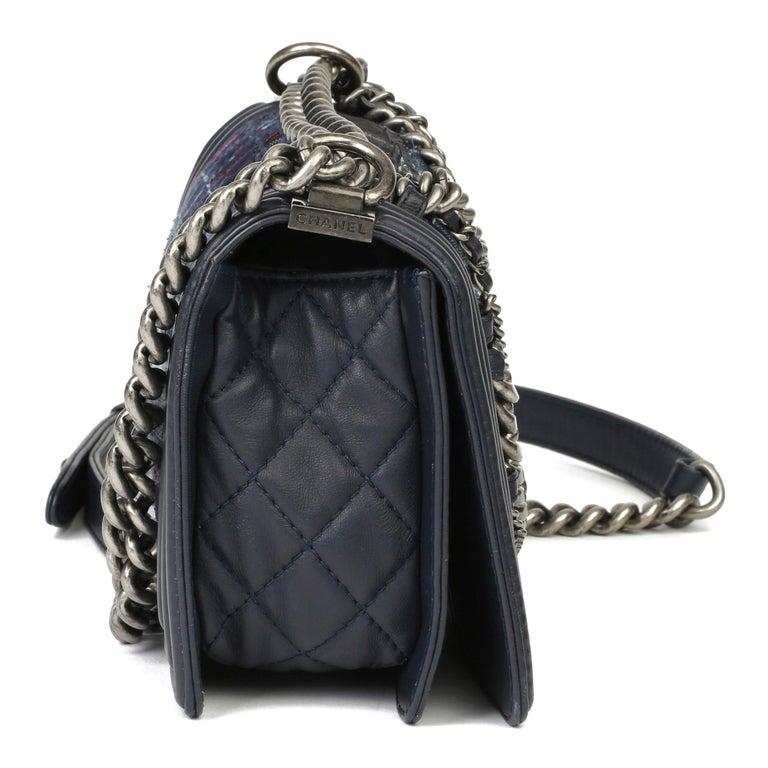 Black 2014 Chanel Blue Quilted Lambkin & Denim Multi-Tweed Enchained Medium Le Boy