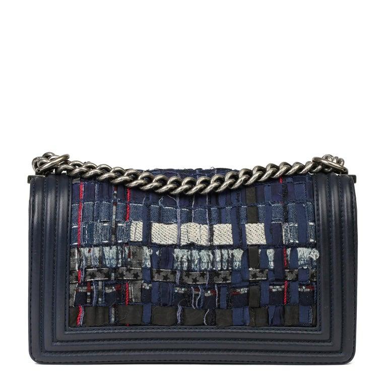 Women's 2014 Chanel Blue Quilted Lambkin & Denim Multi-Tweed Enchained Medium Le Boy