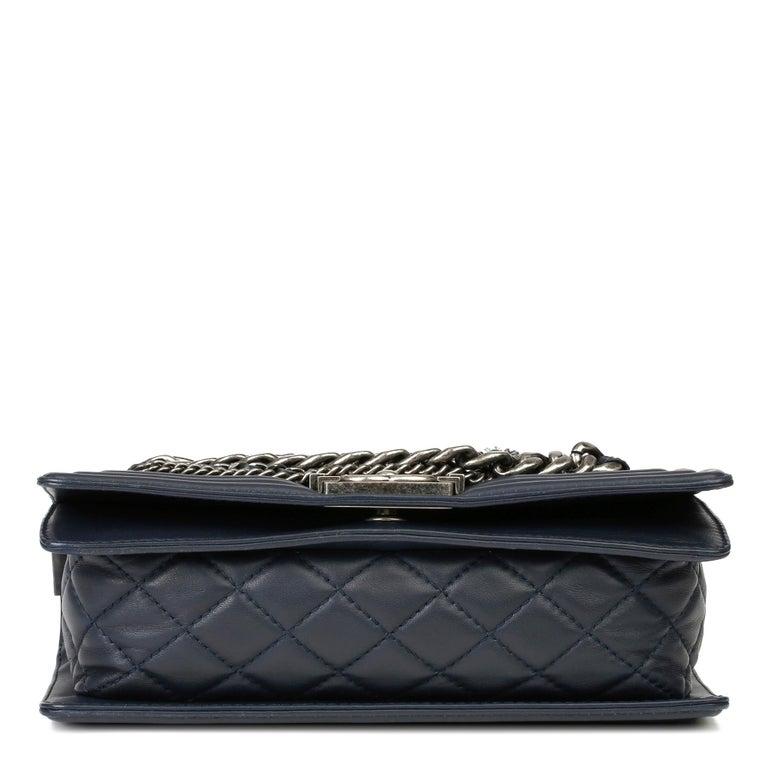 2014 Chanel Blue Quilted Lambkin & Denim Multi-Tweed Enchained Medium Le Boy 1