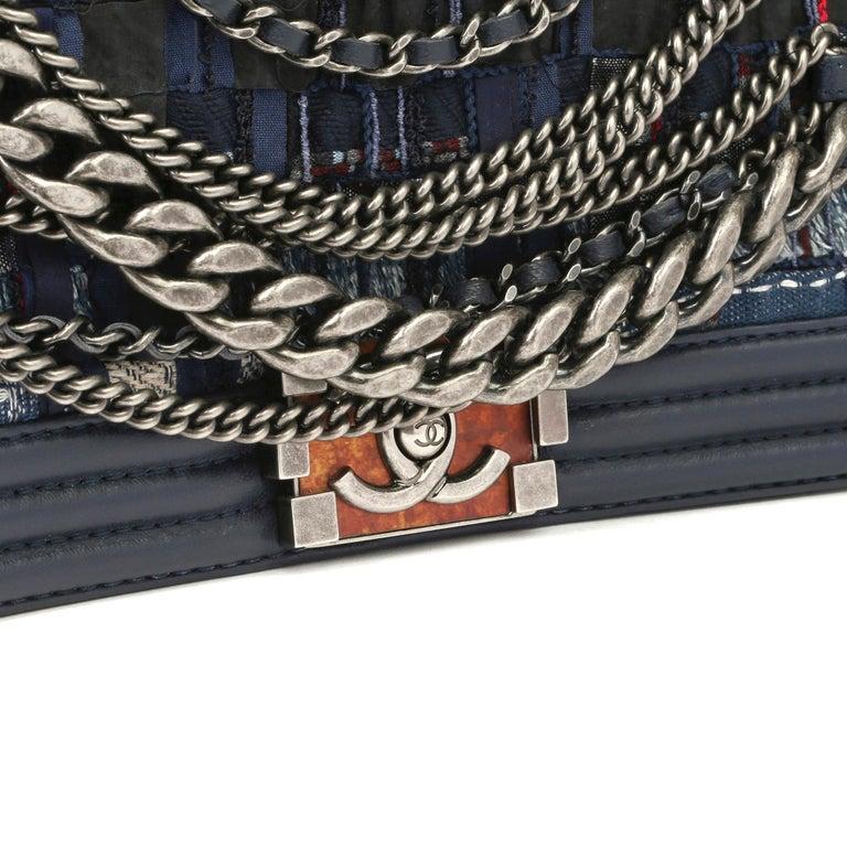 2014 Chanel Blue Quilted Lambkin & Denim Multi-Tweed Enchained Medium Le Boy 2